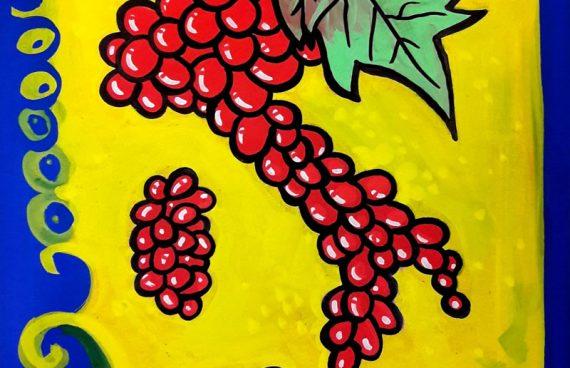 italia di uva,  50 x 70 cm, spray su cartoncino