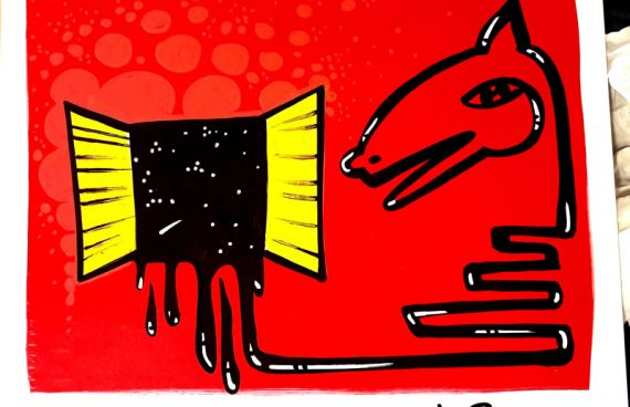 il cavallo nella finestra,50 x 70 cm spray su cartoncino
